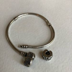 Pandor sterling silver charm bracelet with bead